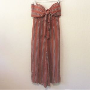 VICI strapless tie front striped jumpsuit size M